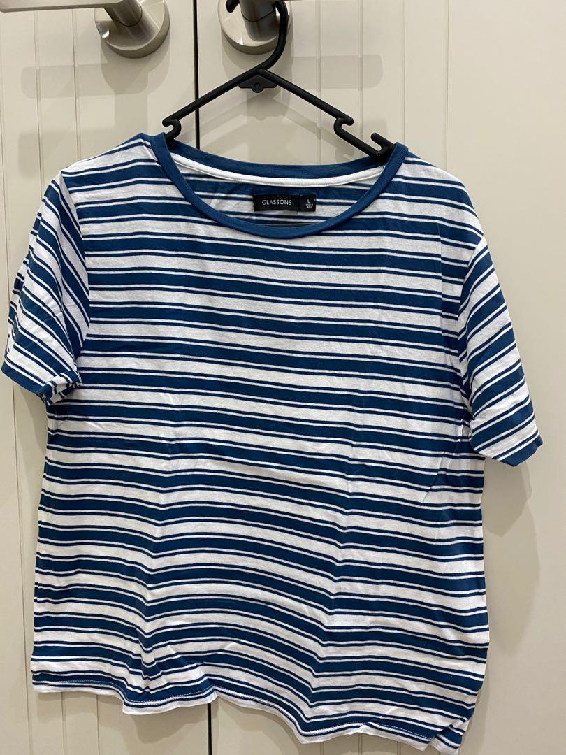 Glassons Blue Striped T-Shirt