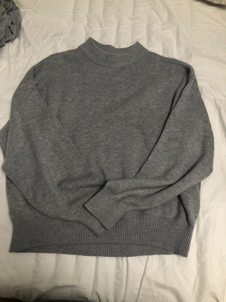 H and m Grey mock neck