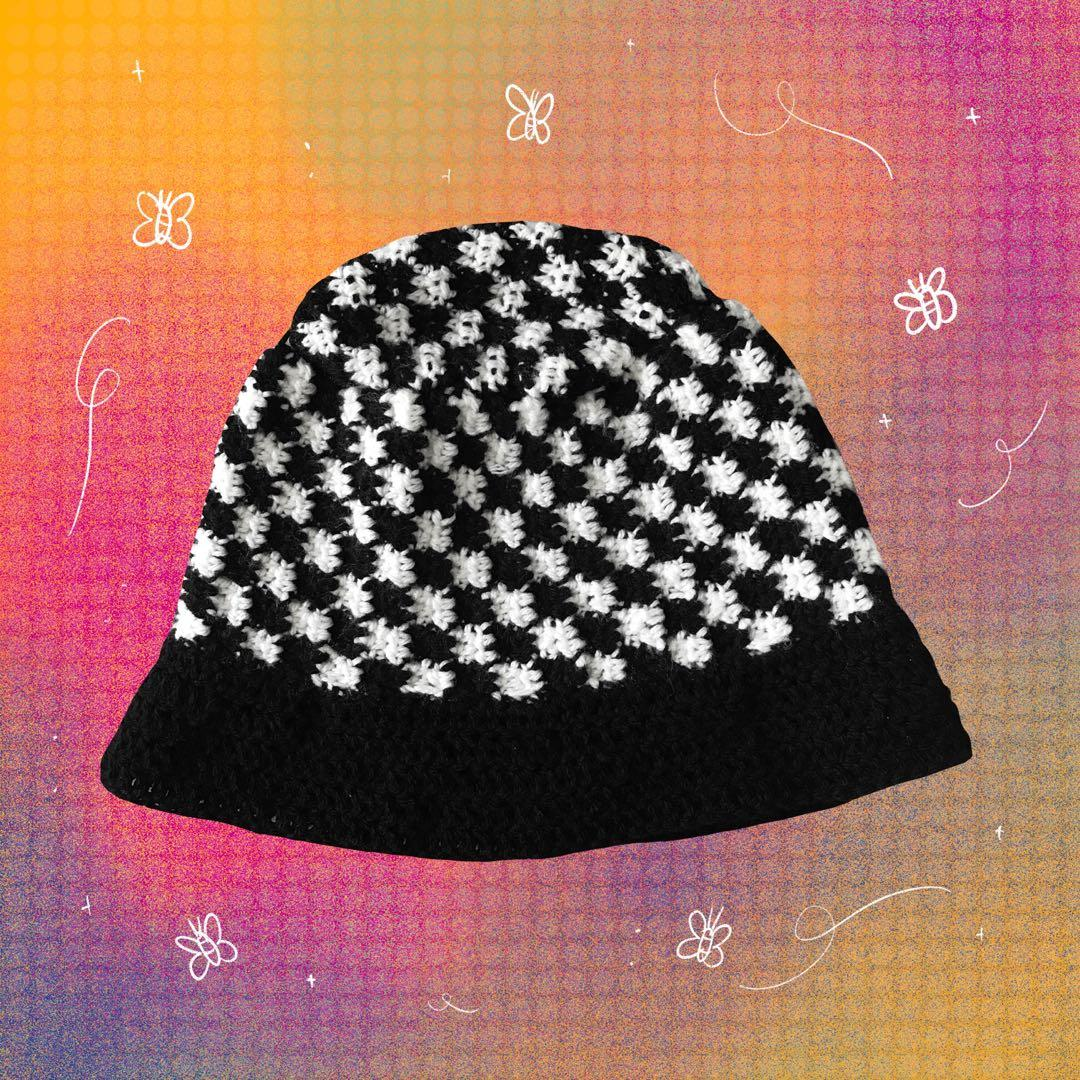 Handmade By Me Crochet Black And White Checkered Checkerboard Bucket Hat Women S Fashion Accessories Caps Hats On Carousell
