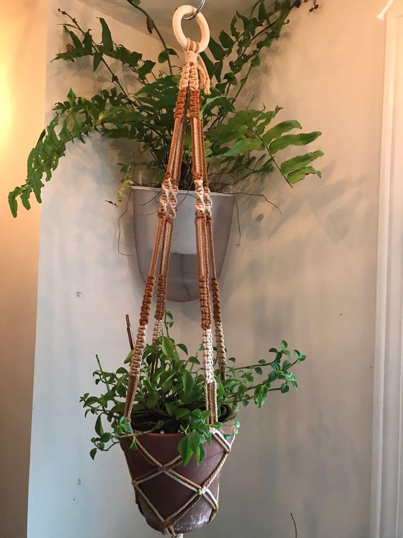 Mixed color macrame plant hanger