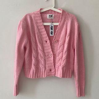 Pink Cable Knitwear Cardigan Korean Style Rajut Brand New (foryouthelabel)