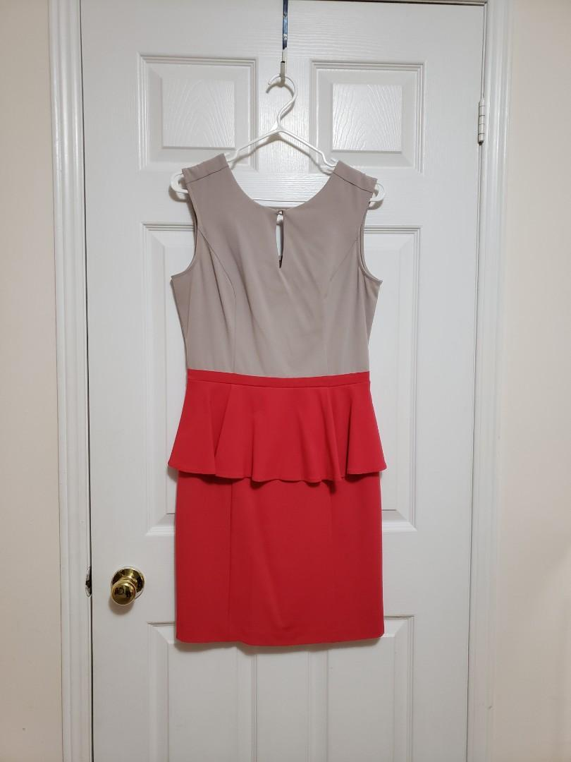 Riley & James Taupe and Magenta Dress