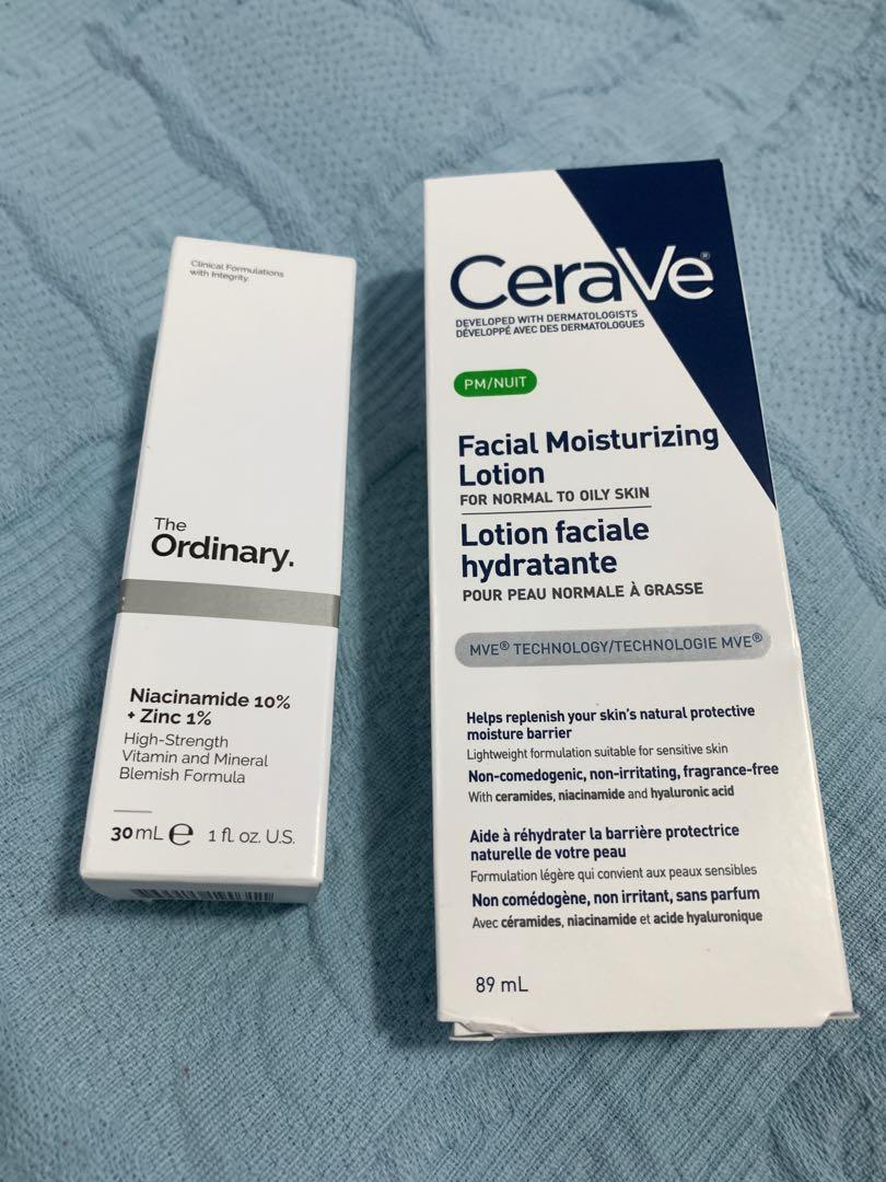 The ordinary niacinamide and Cerave moisturizer