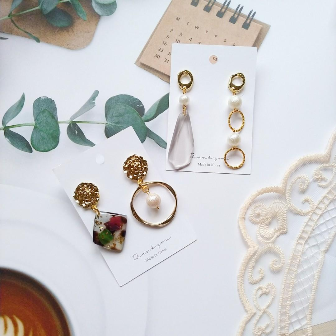 時尚手作玫瑰珍珠水晶耳環