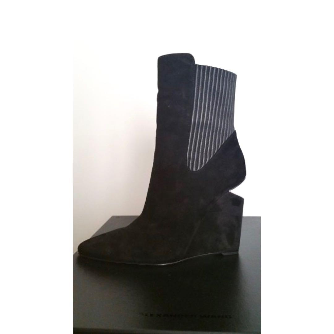 Alexander Wang Black Suede Andie Ankle Boots