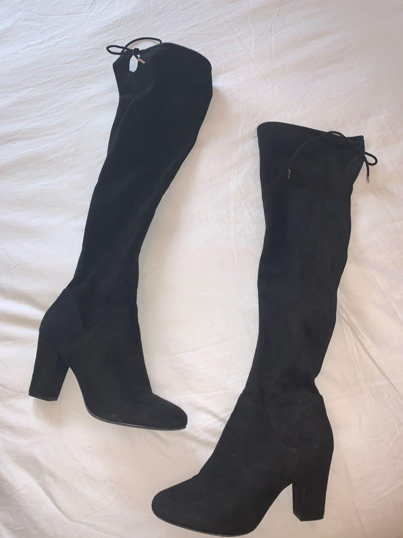 BLACK SUEDE KNEE HIGH BOOTS 8.5W