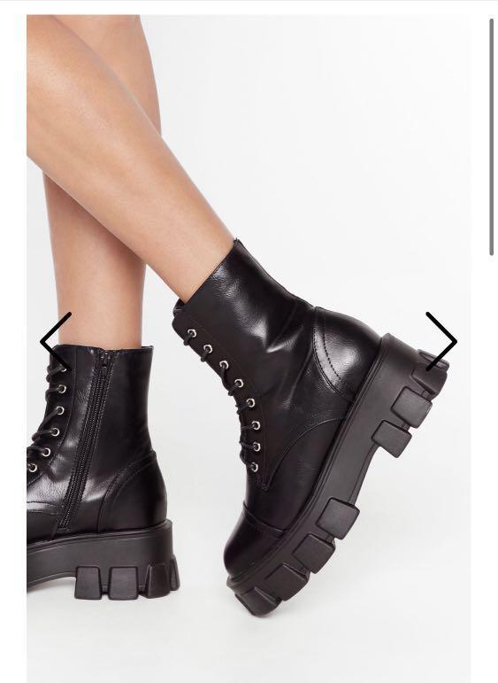 Chunky lug sole combat boots