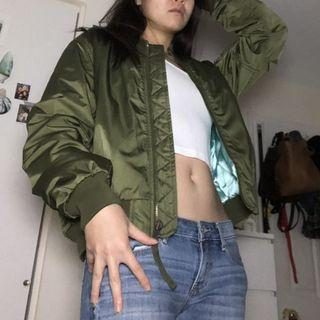 GAP Olive Bomber Jacket - Women's Medium