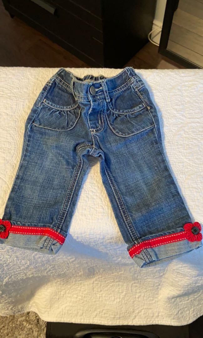 Gymboree jeans with cute red grosgrain trim with flower