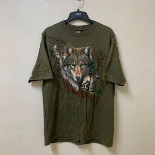 古著 軍綠色 森林的狼 短袖上衣