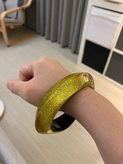 普普風 黃色 金蔥 壓克力手環