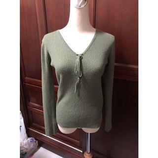 秋冬必備橄欖綠色🎀 坑條 針織衫 顯瘦 合身 彈性 螺紋 羅紋 綁帶 針織上衣 長袖 直條紋 直坑條 女裝