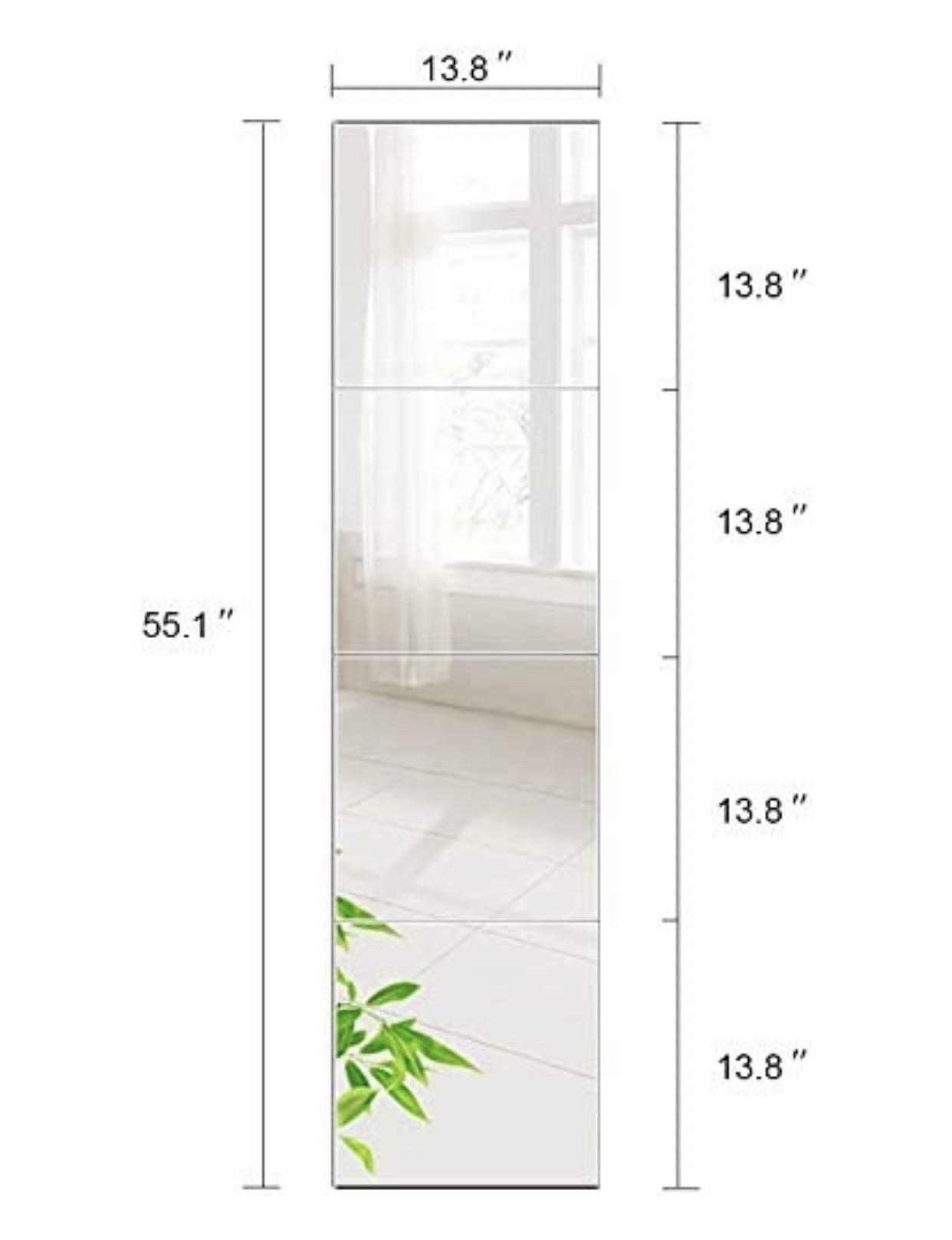 Beauty4u Tall Gym Mirror Tiles 14 X 4 Pieces Full Length Wall Mirror Set Frameless Hd Image Vanity Mirror For Living Room Bedroom Home Decor Furniture Others On Carousell