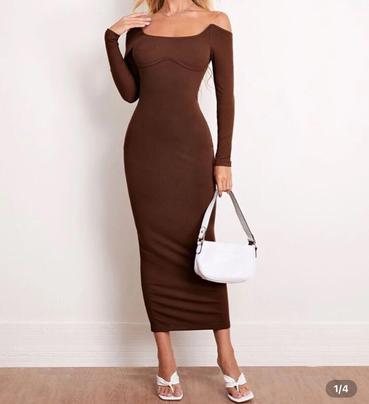 brown fitted maxi dress - XS / S