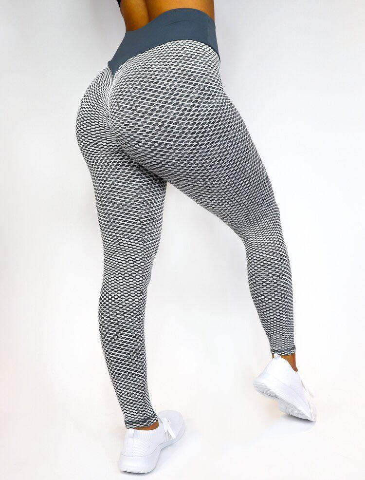 Grey Net Textured Close Knit ™ Leggings