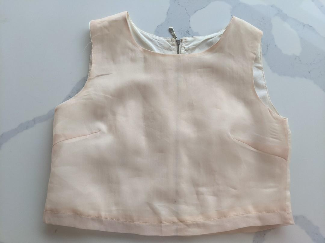 Pink Tissue crop top