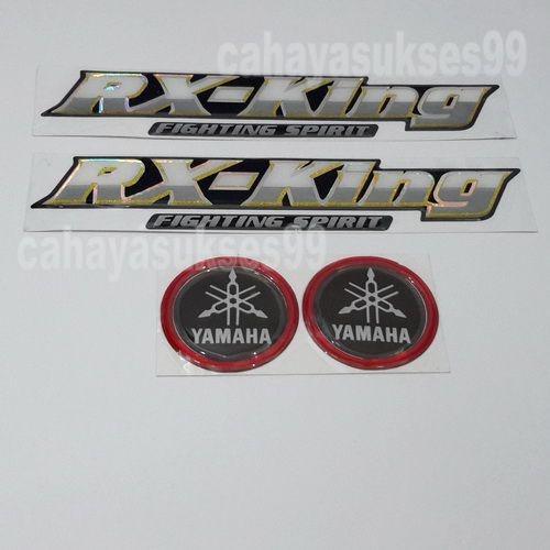 Sticker Timbul YAMAHA RX King Fighting Spirit PUTIH SILVER KUNING  Reflective Sticker Motor Timbul Emblem Yamaha Hitam List Merah Bulat 4.7cm Paket 2set 4pcs