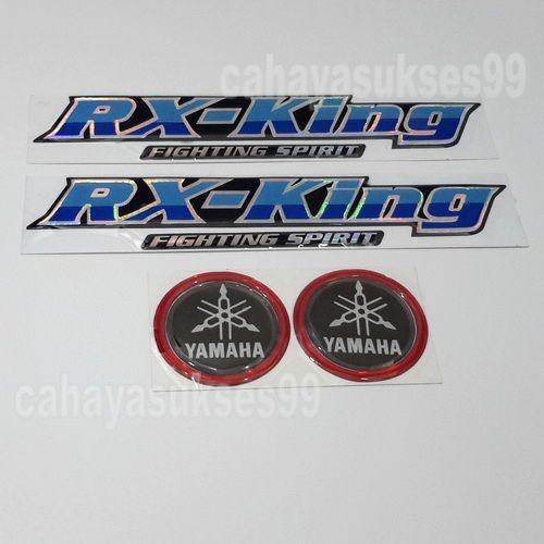 Stiker Motor Emblem Timbul YAMAHA RX King Biru Muda Sticker Body Motor Sticker Motor Emblem Yamaha Bulat Hitam List Merah 4.7cm Paket 2set 4pcs