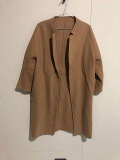正韓 駝色羊毛長大衣(穿3次)