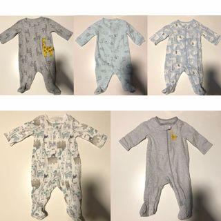 Baby boy's footed one-piece (Set of 5)