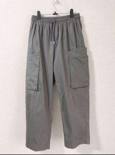 灰色工裝口袋褲(鬆緊腰