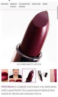 Nyx Matte Lipstick in Siren