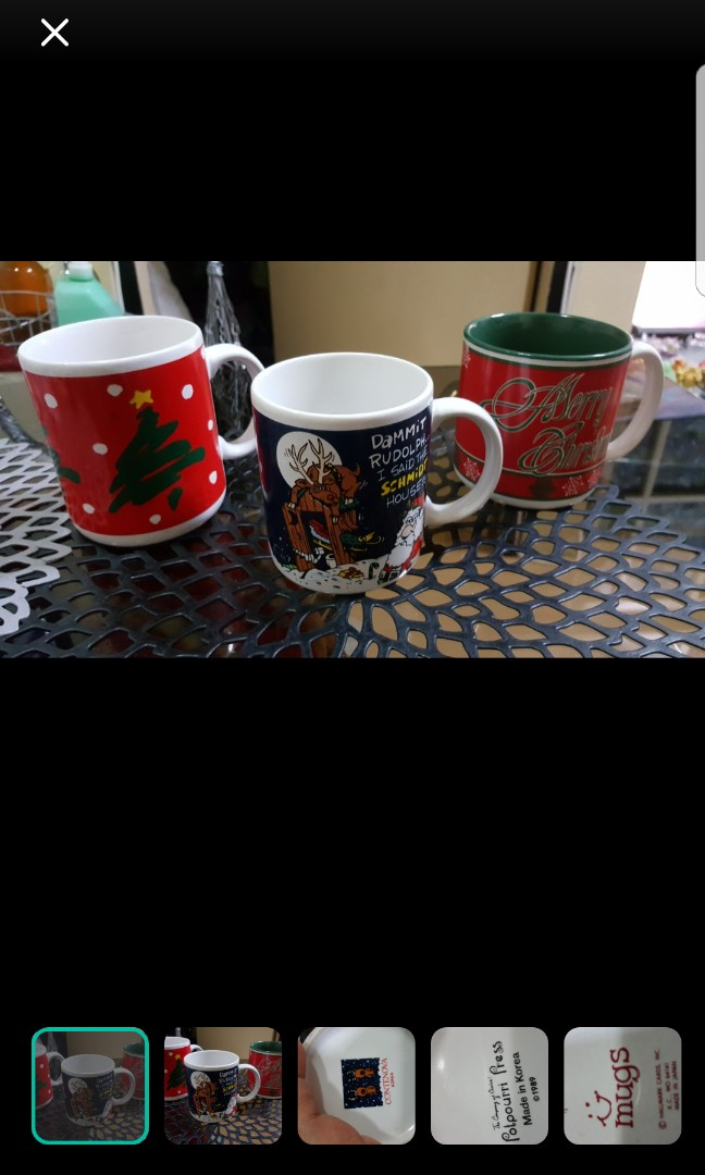 3pcs Vintage Christmas Mug From Korea Year 1989 Home Furniture Home Appliances Other Kitchen Appliances On Carousell