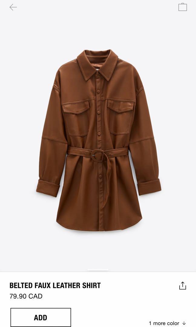 Zara Faux leather long overshirt