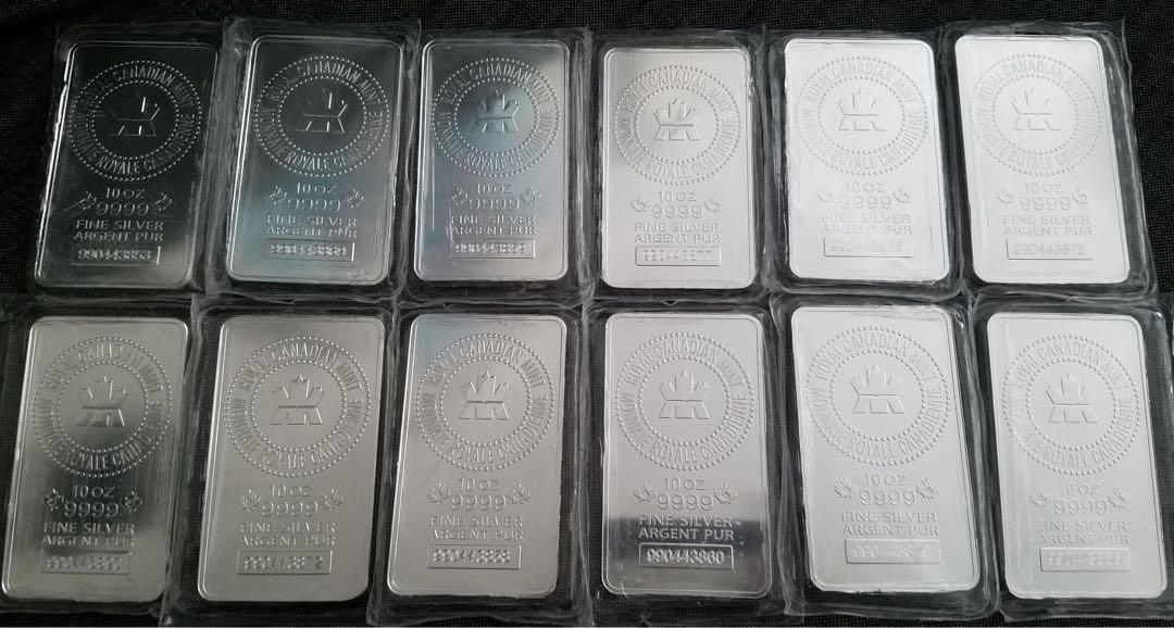 10oz RCM Silver Bar (Royal Canadian Mint) Qty. 12