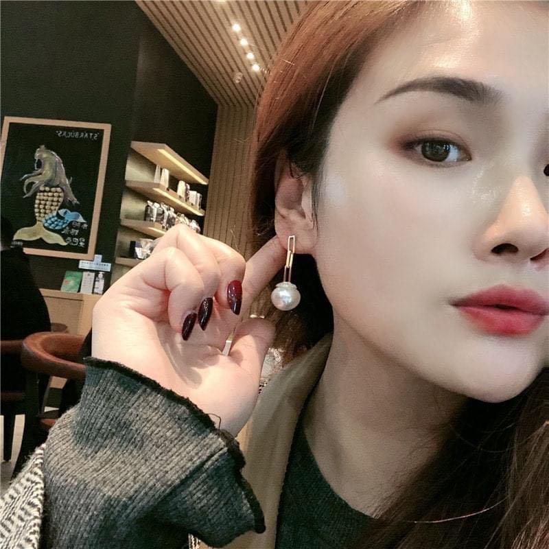 氣質簍空方形鍊條感大珍珠垂墜耳環