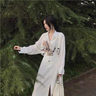 設計感白色印花襯衫休閒氣質