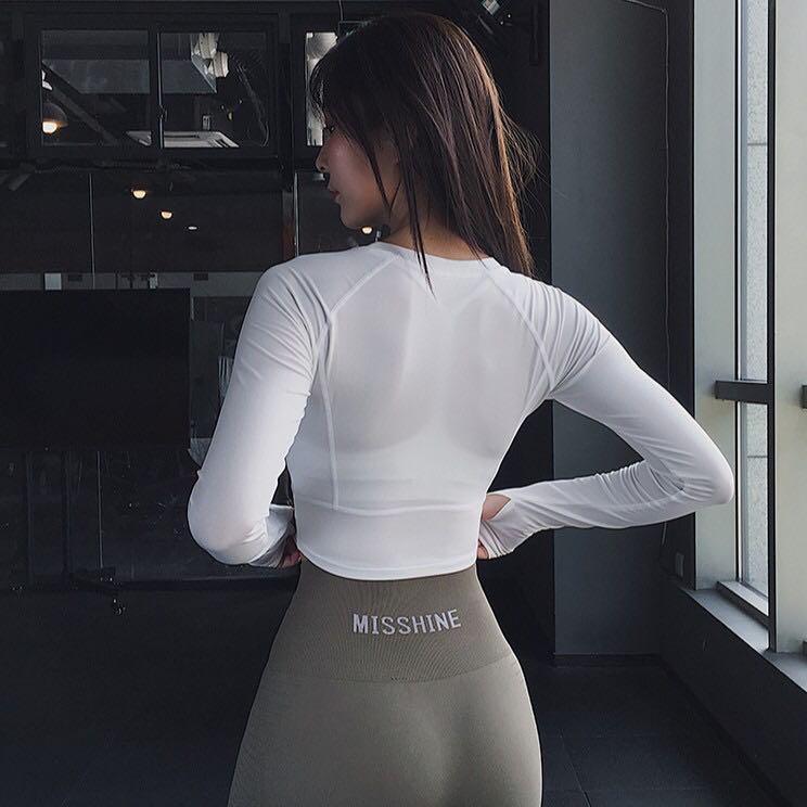運動彈性緊身上衣 白 S