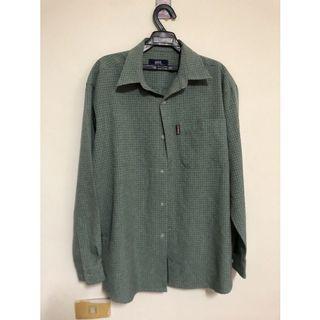 近全新🎀男生 M號 長袖襯衫 古著 格紋格子襯衫 復古 文青 古著 橄欖綠 古著長袖上衣 古著襯衫
