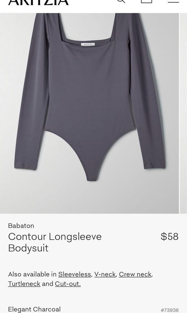 Aritzia Babaton Contour Longsleeve Bodysuit - elegant charcoal