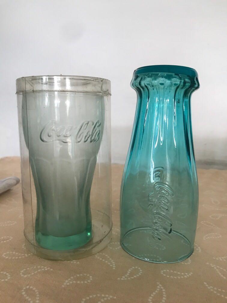 gelas coca cola botol kaca biru hijau