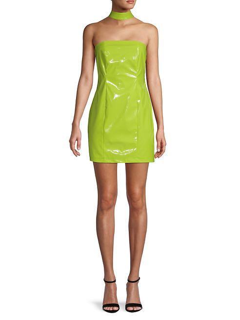 Green Strapless Vinyl Dress