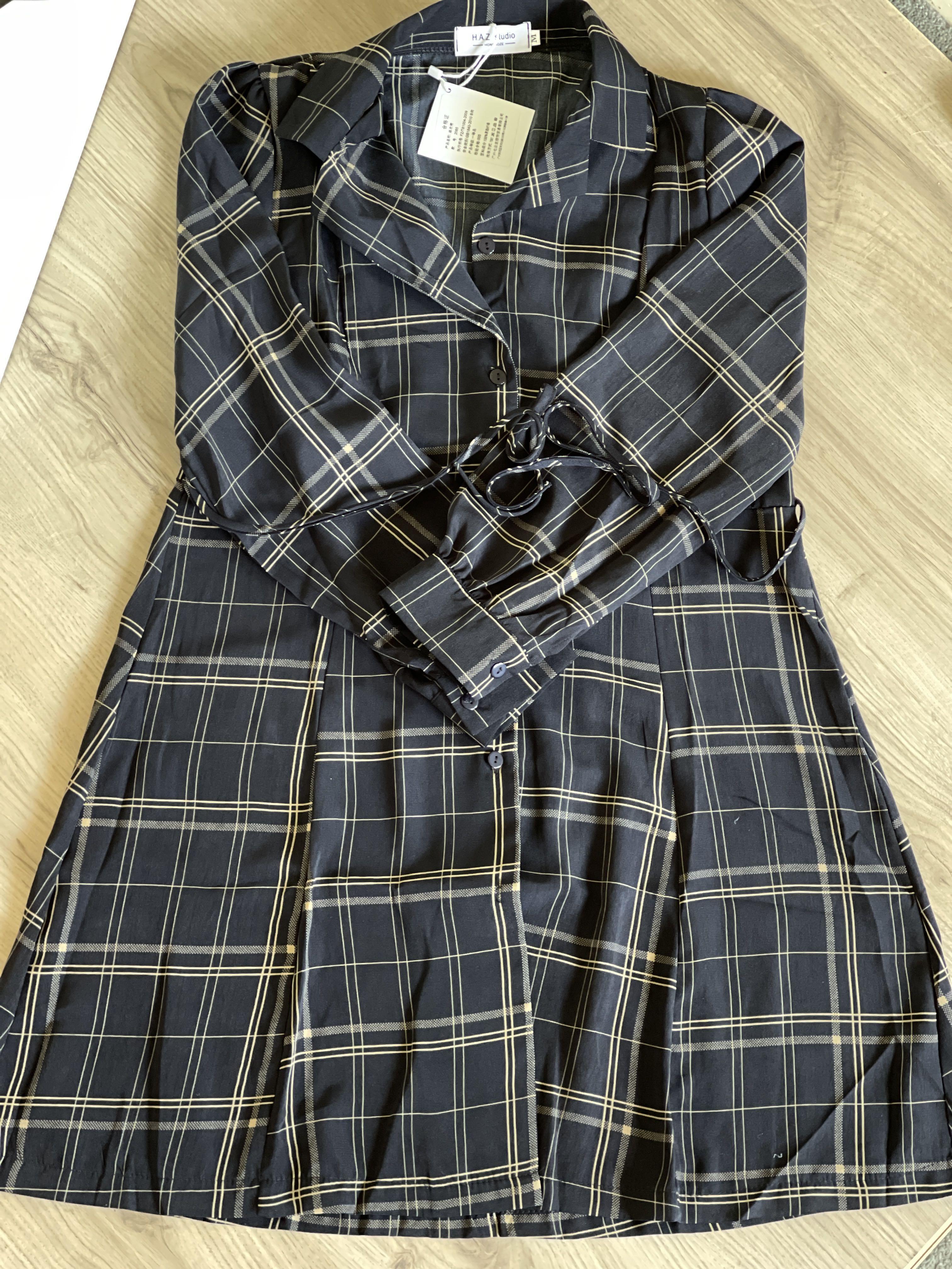Plaid A line shirt dress