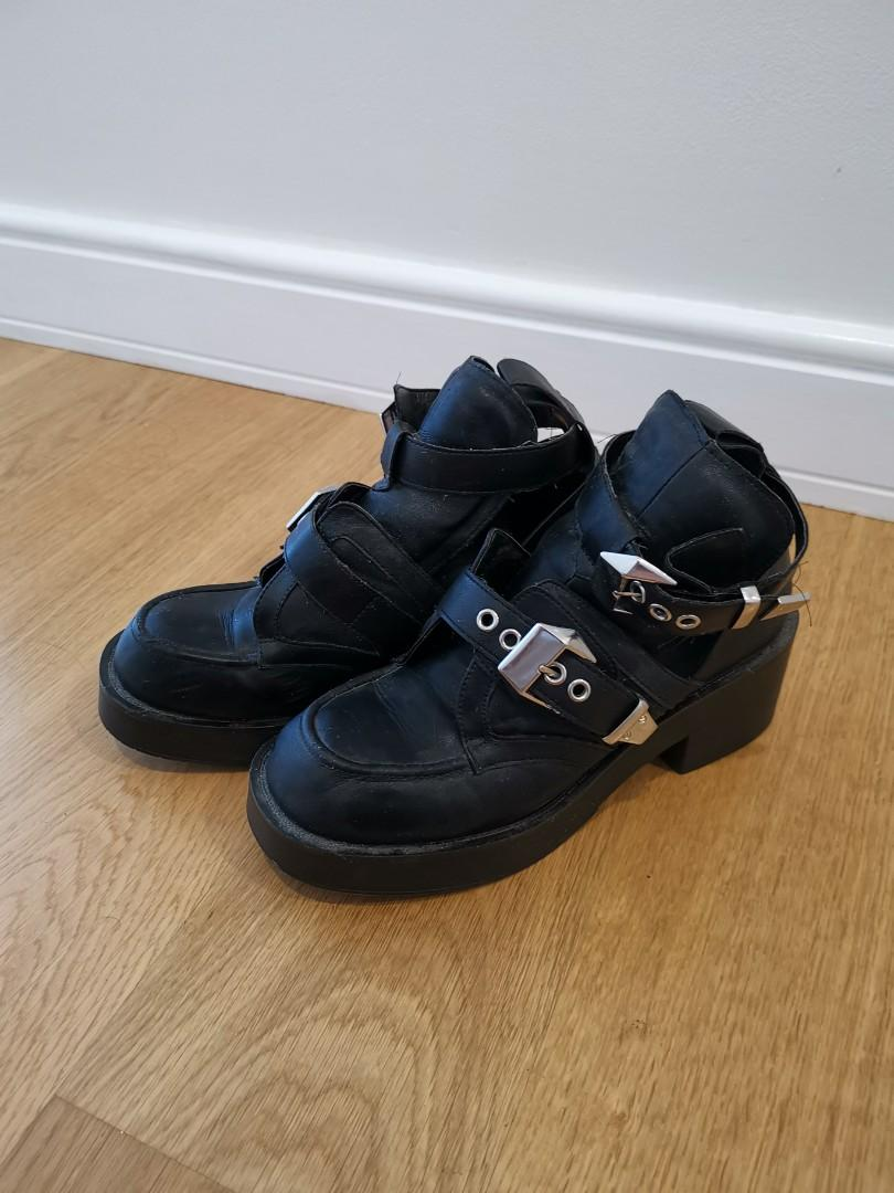 Pulp Black Chunky Buckle Shoes Size 7