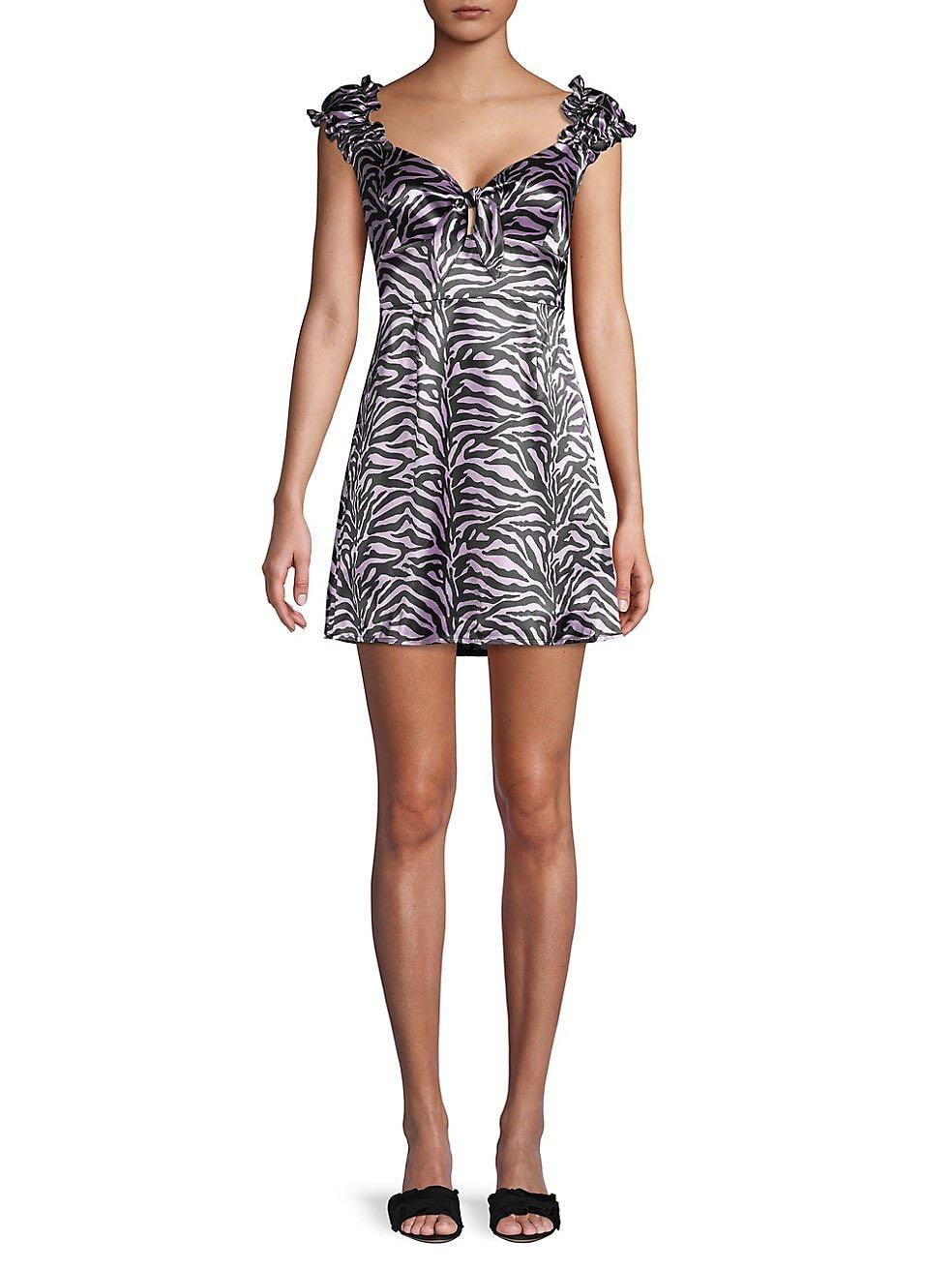 Satin Zebra Print Mini Dress