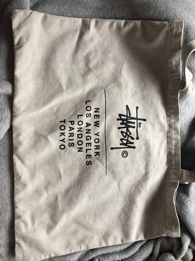 STUSSY cream tote bag