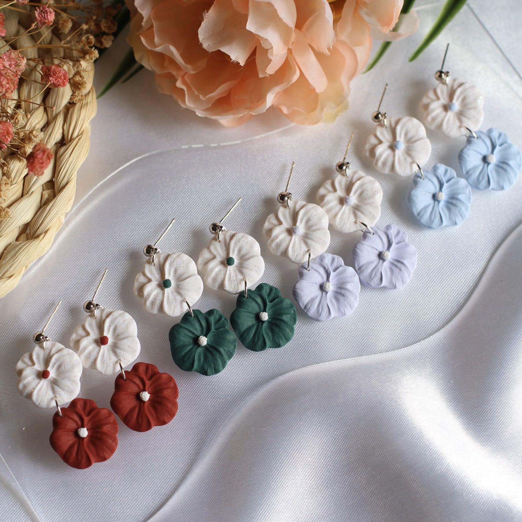 Polymer Clay Earrings Floral Dangle Earrings Clay Earrings Pink Ombre Rose with leaves Earrings Rose Statement Earrings Handmade