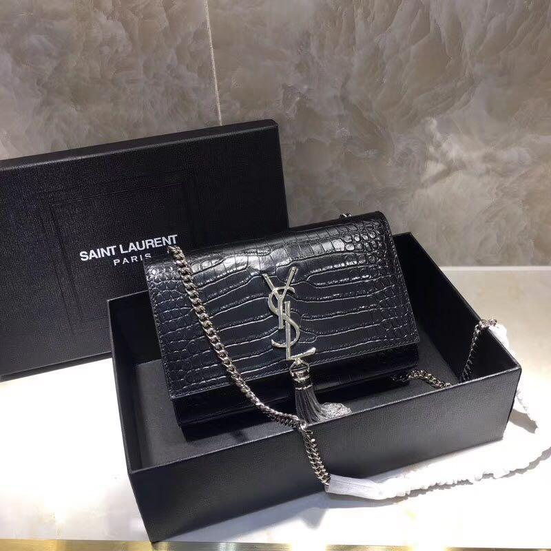 YSL kate croc tassle bag