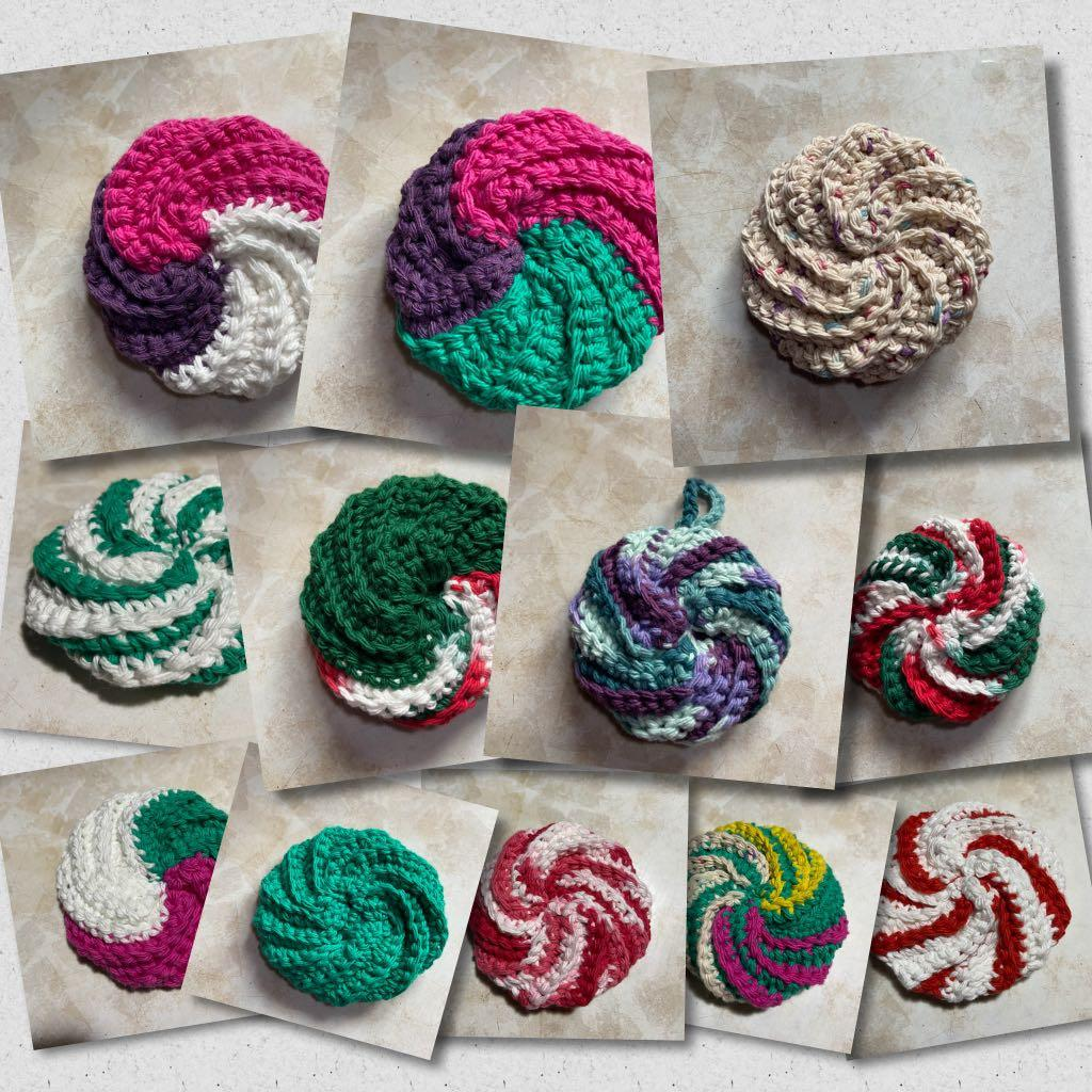 100% cotton Handmade crochet Spiral Scrubbies