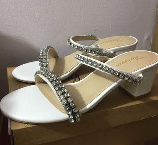5th Avenue White Embellished Block Heels