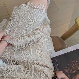 蕾絲針織裙-米杏