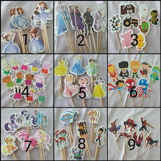 Birthday Party Topper: 24pcs Cartoon characters cupcake toppers