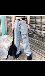 BIXHES購入  單邊破洞牛仔直筒寬褲