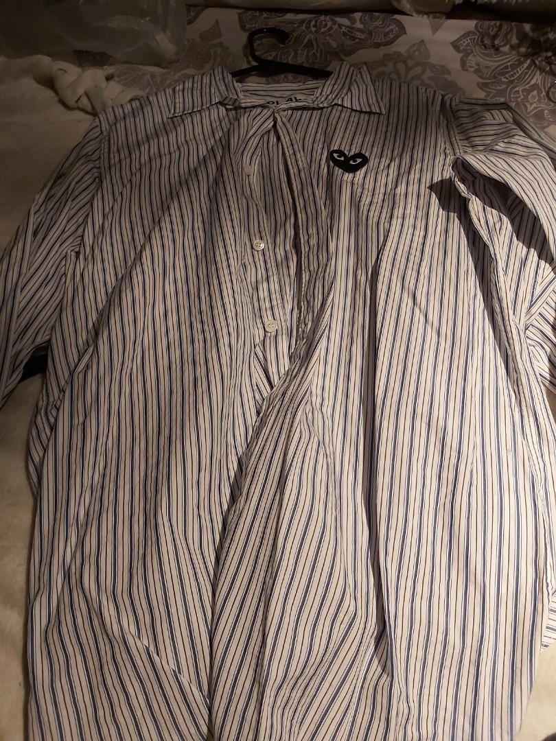 Comme des Garcon play STRIPED POPLIN BUTTON UP WITH BLACK HEART  Large