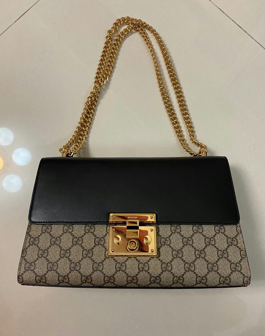Gucci large chain bag with canvas