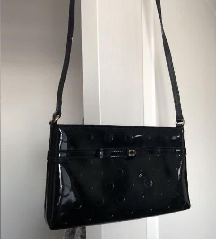 KATE SPADE black leather crossbody purse